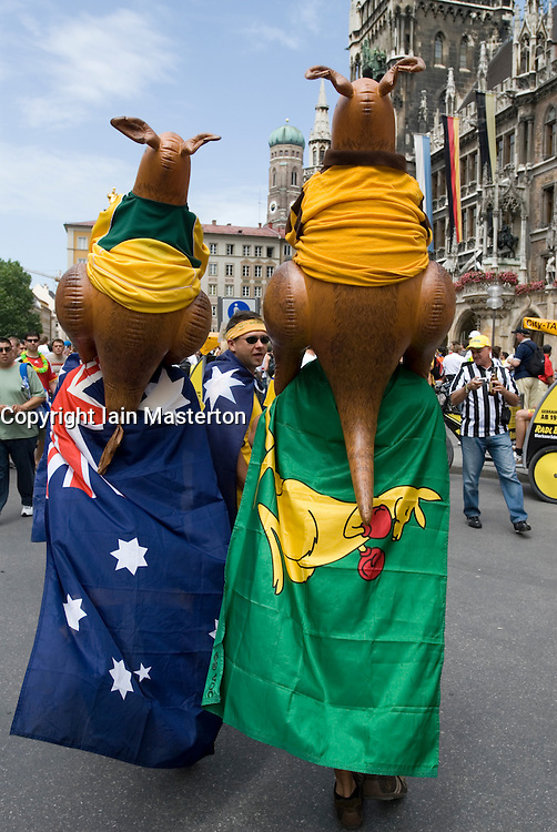 Australian soccer fans with inflatable kangaroos and flags during soccer World Cup in 2006 in Munich Germany
