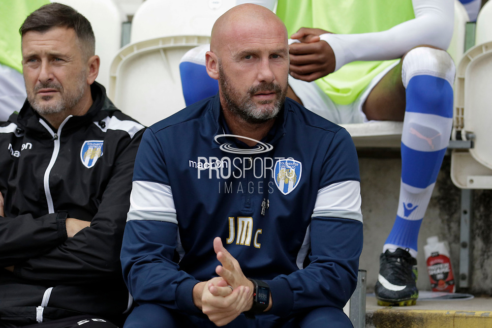 Colchester United Manager John McGreal during the EFL Sky Bet League 2 match between Colchester United and Carlisle United at the Weston Homes Community Stadium, Colchester, England on 14 October 2017. Photo by Phil Chaplin