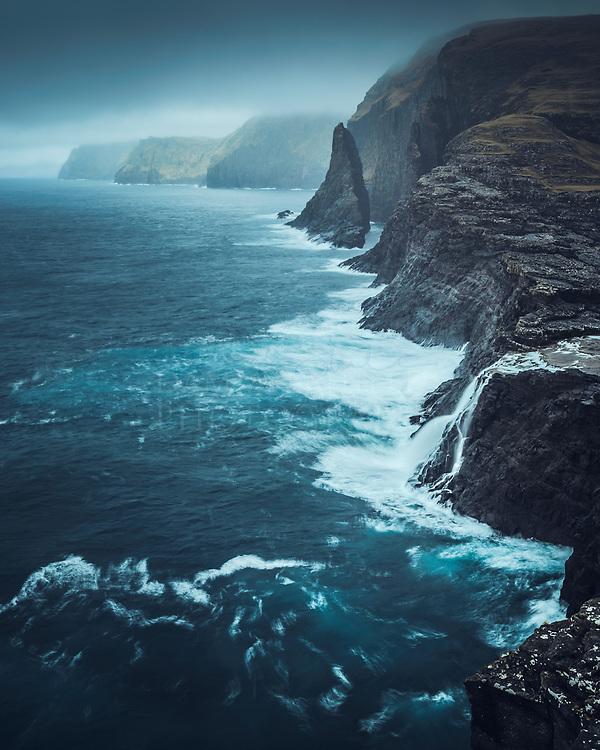 Bøsdalafossur from Trælanípa, Vágar, Faroe Islands