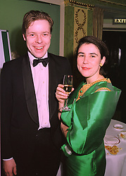 LORD BINGHAM son of the missing Lord Lucan and MISS SOPHIE LILLINGSTON, at a ball in London on 12th February 1998.MFL 10