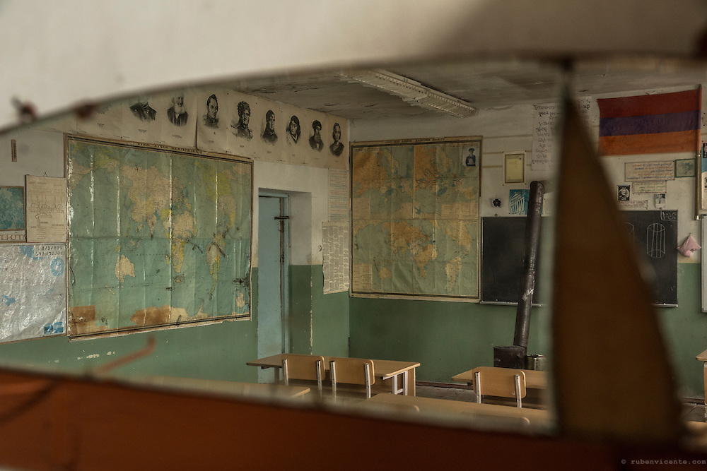 View of a classroom at Zovasar school from a broken mirror. Armenia