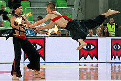 Performers at friendly match between Croatia and Serbia for Adecco Cup 2011 as part of exhibition games before European Championship Lithuania on August 9, 2011, in SRC Stozice, Ljubljana, Slovenia. (Photo by Matic Klansek Velej / Sportida)