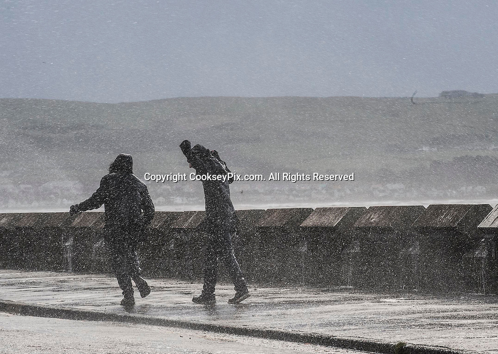 Picture by Christian Cooksey/CookseyPix.com.  Weather Picture. Standard repro rates apply.<br /> <br /> Two men walk along the sea front in Ayr, South Ayrshire as heavy wind and rain continues to lash the West coast of Scotland.