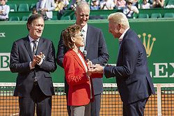 German Tennis player Boris Becker receives from the Baroness Anne Elisabeth de Massy the golden ring of the Hall of Fame with Todd Martin and Zeljko Franulovic during the Monte Carlo Rolex Masters at the Country Club of Monaco on April 19, 2018. Photo by ABACAPRESS.COM