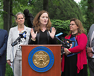 Hempstead, New York, USA. May 30, 2019. At podium, U.S. Representative KATHLEEN RICE (NY-04) holds a press conference to announce she's introducing Three Bills to Congress to combat Impaired and distracted Driving, and at left is Nassau County Executive LAURA CURRAN, and at right is ALISA MCMORRIS, whose 12-year-old son Andrew was killed by drunk driver exactly 8 months ago in Manorville while walking with group of fellow Boy Scouts. Congresswoman Rice announced the package of 3 bills - End Drunk Driving Act, the Prevent Impaired Driving Child Endangerment Act, and the Distracted Driving Education Act of 2019 - at the Drunk Driving Victims Memorial in Eisenhower Park.