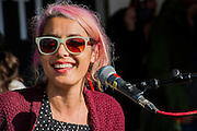 Warpaint do an accoustic set in the Greenpeace area. The 2014 Glastonbury Festival, Worthy Farm, Glastonbury. 28 June 2013.  Guy Bell, 07771 786236, guy@gbphotos.com