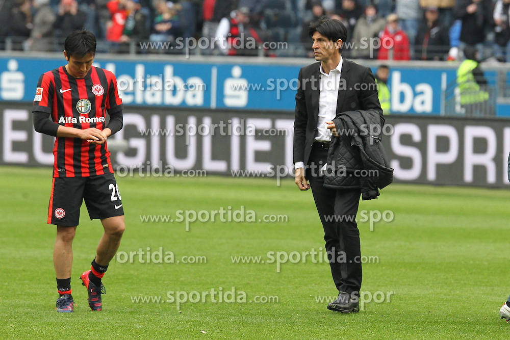 04.04.2015, Commerzbank Arena, Frankfurt, GER, 1. FBL, Eintracht Frankfurt vs Hannover 96, 27. Runde, im Bild Sportmanager Bruno H&uuml;bner, Huebner (Frankfurt) unzufrieden nach dem 0:0 Unentschieden // during the German Bundesliga 27th round match between Eintracht Frankfurt and Hannover 96 at the Commerzbank Arena in Frankfurt, Germany on 2015/04/04. EXPA Pictures &copy; 2015, PhotoCredit: EXPA/ Eibner-Pressefoto/ Roskaritz<br /> <br /> *****ATTENTION - OUT of GER*****