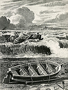 Lifeboat designed by Gabriel Bray of Charmouth, Dorset, England. Engraving 1818.