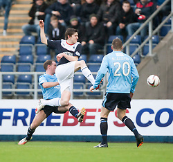 Falkirk's Blair Alston has a shot.<br /> Falkirk 2 v 0 Dundee, Scottish Championship game at The Falkirk Stadium.<br /> &copy; Michael Schofield.