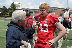01 August 2017:   Ryan Zitkus interviewed by Steve Robinson during 2017 Illinois State Redbirds Football Media Day at Hancock Stadium in Normal IL (Photo by Alan Look)