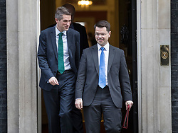 © Licensed to London News Pictures. 22/11/2017. London, UK. Defence Secretary Gavin Williamson (L) and Northern Ireland Secretary James Brokenshire leave Number 10 Downing Street after attending a pre-budget cabinet meeting. Photo credit: Peter Macdiarmid/LNP