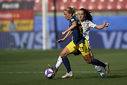 June 29, 2019 - Rennes, France - Elin Rubensson (Kopparbergs/Goteborg FC) of Sweden and Sara Daebritz (FC Bayern Munchen) of Germany competes for the ball during the 2019 FIFA Women's World Cup France Quarter Final match between Germany and Sweden at Roazhon Park on June 29, 2019 in Rennes, France. (Credit Image: © Jose Breton/NurPhoto via ZUMA Press)