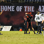 24 November 2018: San Diego State Aztecs place kicker John Baron II (29) hits a 53 yard field goal in the third quarter to close the Hawaii lead to 24-17. The Aztecs closed out the season with a 31-30 overtime loss to Hawaii at SDCCU Stadium.