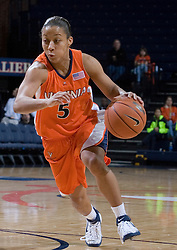 Virginia Cavaliers Guard Sharne? Zoll (5) in action against Duke.  The University of Virginia Cavaliers lost to the #1 ranked Duke University Blue Devils 76-61 at the John Paul Jones Arena in Charlottesville, VA on February 2, 2007.