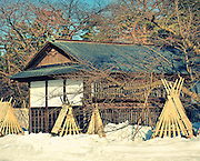 A tea house in Hirosaki castle park in winter.