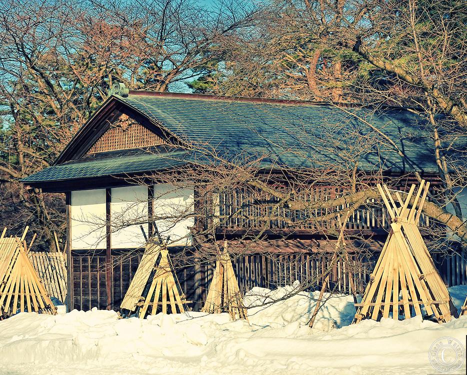 A tea house in Hirosaki castle park in winter.