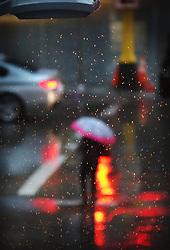 April 26, 2017 - Minneapolis, MN, USA - United States - A street light illuminates steady rain falling Wednesday, April 26, 2017, in downtown Minneapolis, MN.]....DAVID JOLES • david.joles@startribune.com....Steady, cold rain Wednesday (Credit Image: © David Joles/Minneapolis Star Tribune via ZUMA Wire)