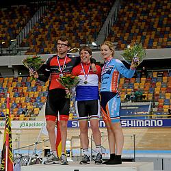 podium van cycling tijdrit bij het NK baanwielrennen 2015
