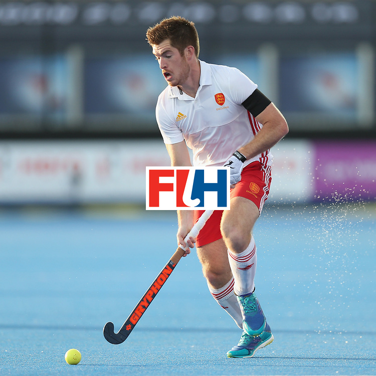 LONDON, ENGLAND - JUNE 15: Henry Weir of England during the Hero Hockey World League Semi Final match between England and China at Lee Valley Hockey and Tennis Centre on June 15, 2017 in London, England.  (Photo by Alex Morton/Getty Images)