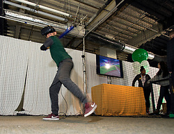 Eleven-year-old Saul Ortiz of Brentwood, Calif. waits for his pitch at the virtual reality batting station during Oakland Athletics FanFest at Jack London Square on Saturday, Jan. 27, 2018 in Oakland, Calif. (D. Ross Cameron/SF Chronicle)