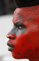 Photo: Steve Bond/Richard Lane Photography.<br />Egypt v Angola. Africa Cup of Nations. 04/02/2008. ghanain painted in Egyptian colours