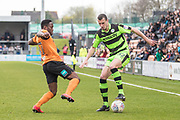 Forest Green Rovers Haydn Hollis is challenged by Barnet's Nana Kyei(17) during the EFL Sky Bet League 2 match between Barnet and Forest Green Rovers at The Hive Stadium, London, England on 7 April 2018. Picture by Shane Healey.
