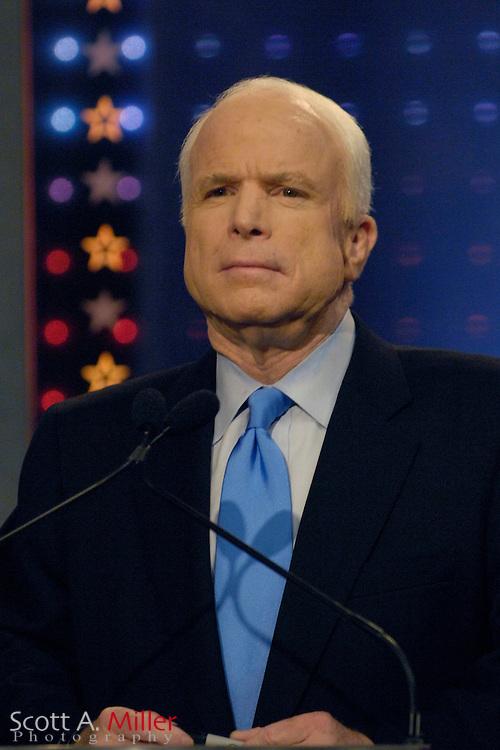 Orlando, Fla., USA; Oct. 21, 2007 - Republican presidential hopeful John McCain during the Republican debate debate hosted by FOX News in Orlando, Fla. ..©2007 Scott A. Miller