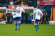 Tom Pope and Danny Rose of Bury celebrate after Richard O'Donnell's own-goal during the FA Cup match at Gigg Lane, Bury<br /> Picture by Matt Wilkinson/Focus Images Ltd 07814 960751<br /> 07/11/2015