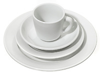 white dish set by williams sonoma