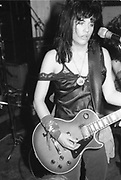 Guitarist from The Bangles performing, UK. 1980s.