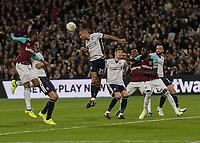Football - 2017 / 2018 EFL (League) Cup - Third Round: West Ham United vs. Bolton Wanderers<br /> <br /> Darren Pratley (Bolton Wanderers) clears from another West Ham cross at the London Stadium.<br /> <br /> <br /> COLORSPORT/DANIEL BEARHAM
