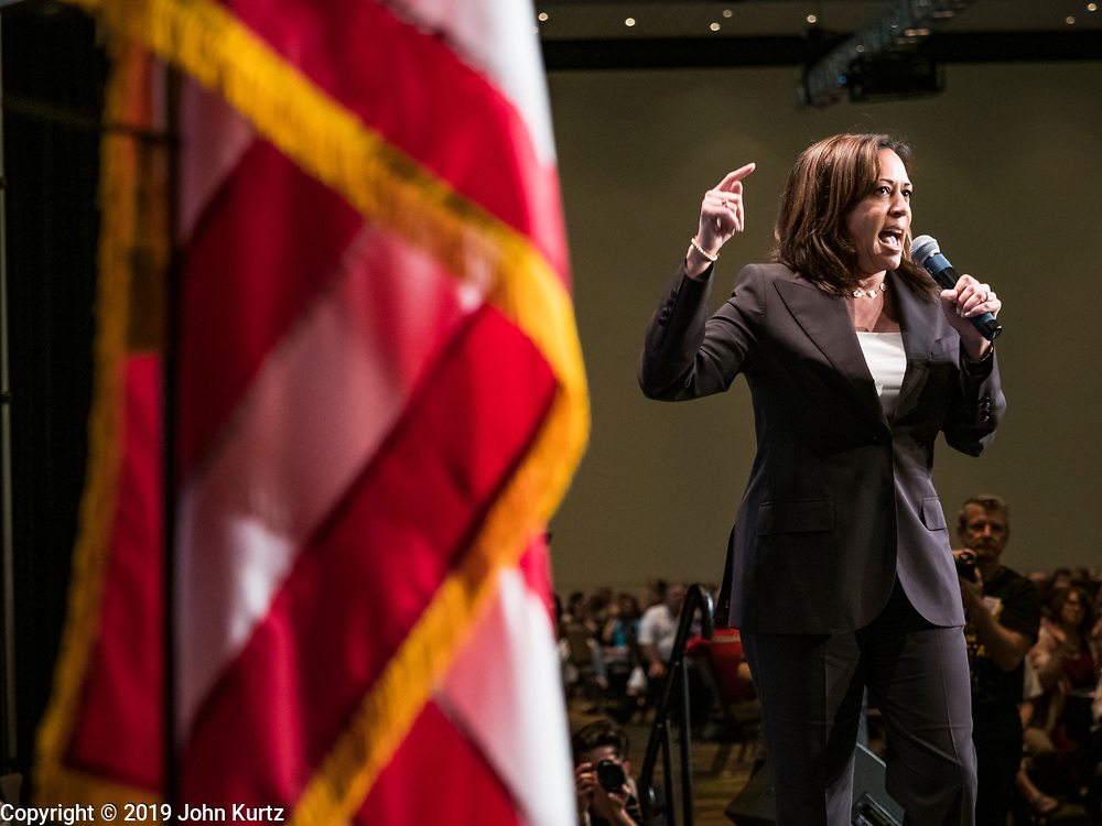 09 JUNE 2019 - CEDAR RAPIDS, IOWA: US Senator KAMALA HARRIS (D-CA) speaks at the Iowa Democrats 2019 Hall of Fame Celebration in the Cedar Rapids Convention Center. Nineteen of the Democratic candidates for president in 2020 spoke at the annual event. Iowa traditionally hosts the the first election event of the presidential election cycle. The Iowa Caucuses will be on Feb. 3, 2020.                          PHOTO BY JACK KURTZ