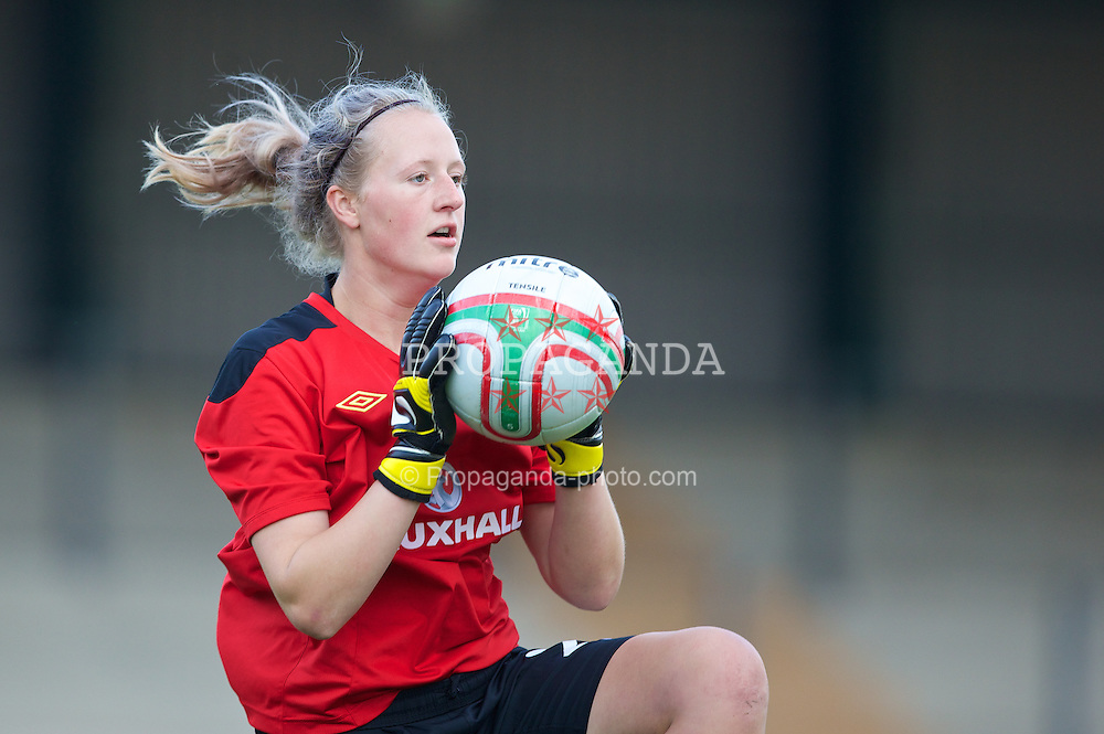 NEWPORT, WALES - Tuesday, August 27, 2013: Wales' goalkeeper Jodie Buck in action against Finland during an international friendly at Dragon Park. (Pic by Kieran McManus/Propaganda)