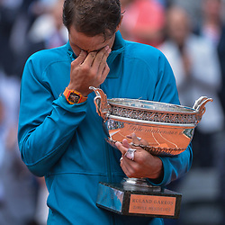 Rafael Nadal of Spain with the Musketeers cup after winning the final during Day 15 for the French Open 2018 on June 10, 2018 in Paris, France. (Photo by Baptiste Fernandez/Icon Sport)