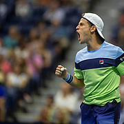 2019 US Open Tennis Tournament- Day Ten. Diego Schwartzman of Argentina  reacts during his match against Rafael Nadal of Spain in the Men's Singles Quarter-Finals match on Arthur Ashe Stadium during the 2019 US Open Tennis Tournament at the USTA Billie Jean King National Tennis Center on September 4th, 2019 in Flushing, Queens, New York City.  (Photo by Tim Clayton/Corbis via Getty Images)