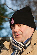 Joe Gibbons, Unison, speaking at an FBU march and rally against proposed cuts in frontline services. Kingston upon Hull 11/12/10...© Martin Jenkinson, tel 0114 258 6808 mobile 07831 189363 email martin@pressphotos.co.uk. Copyright Designs & Patents Act 1988, moral rights asserted credit required. No part of this photo to be stored, reproduced, manipulated or transmitted to third parties by any means without prior written permission.