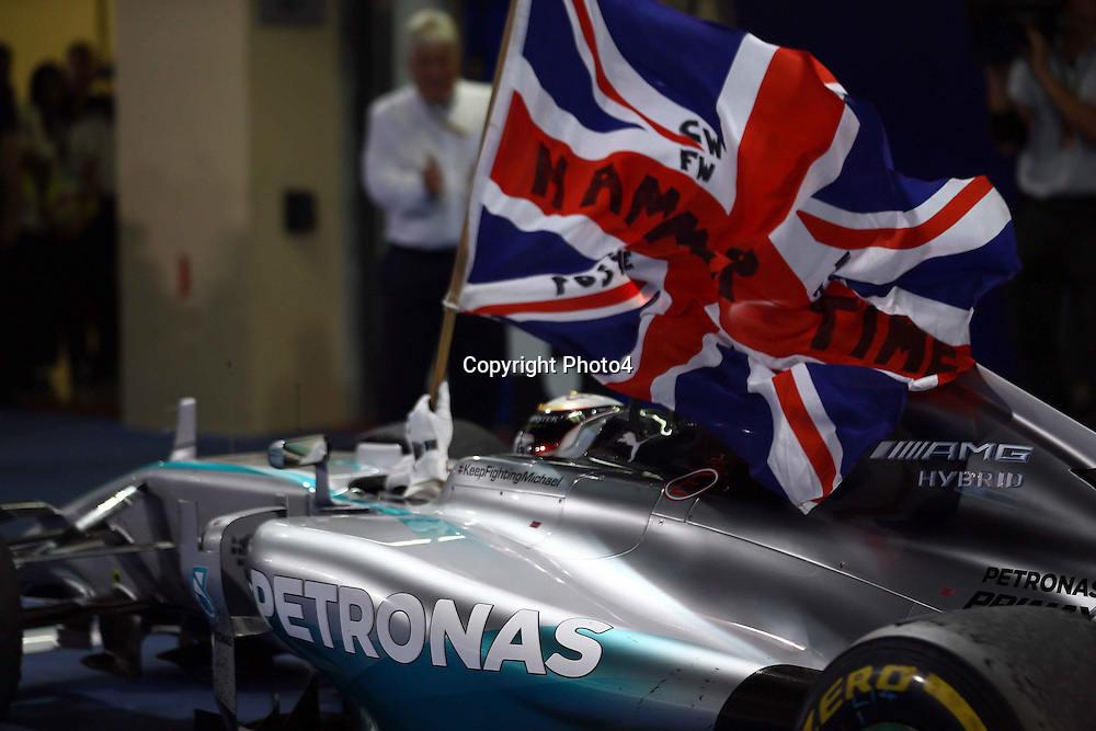 &copy; Photo4 / LaPresse<br /> 23/11/2014 Abu Dhabi, UAE<br /> Sport <br /> Grand Prix Formula One Abu Dhabi 2014<br /> In the pic:  Formula 1 World champion 2014 Lewis Hamilton (GBR) Mercedes AMG F1 W05