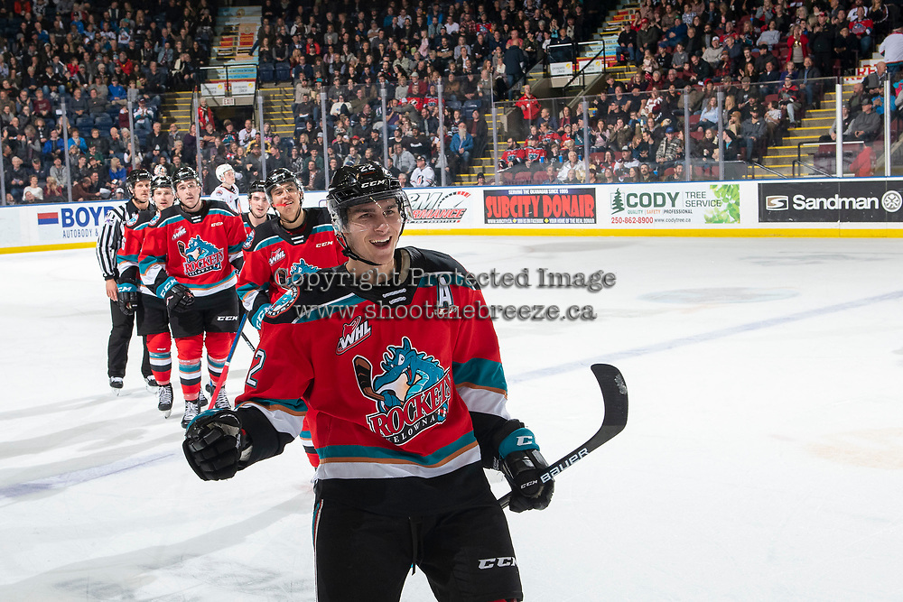 KELOWNA, BC - NOVEMBER 16: Dillon Hamaliuk #22 of the Kelowna Rockets leads his line to the bench to celebrate a goal against the Kamloops Blazers at Prospera Place on November 16, 2019 in Kelowna, Canada. Hamaliuk was selected in the 2019 NHL entry draft by the San Jose Sharks. (Photo by Marissa Baecker/Shoot the Breeze)
