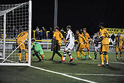 Forest Green Rovers Defender, Mark Ellis (5) scores the opening goal with a header 0-1 during the Vanarama National League match between Sutton United and Forest Green Rovers at Gander Green Lane, Sutton, United Kingdom on 14 March 2017. Photo by Adam Rivers.
