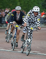 LONDON UK 30TH JULY 2016:  Riders take part in the Brompton World Championship. The Brompton World Championship. Prudential RideLondon in London 30th July 2016<br /> <br /> Photo: Joe Toth/Silverhub for Prudential RideLondon<br /> <br /> Prudential RideLondon is the world's greatest festival of cycling, involving 95,000+ cyclists – from Olympic champions to a free family fun ride - riding in events over closed roads in London and Surrey over the weekend of 29th to 31st July 2016. <br /> <br /> See www.PrudentialRideLondon.co.uk for more.<br /> <br /> For further information: media@londonmarathonevents.co.uk