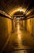 Long corridor German Underground Military hospital, Guernsey, Channel Islands, UK
