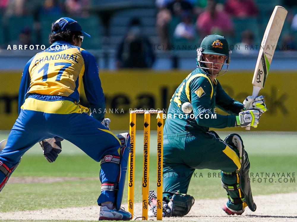 Phil Hughes batting during game 1 of the Commonwealth Bank Series Australia v Sri Lanka played at the Melbourne Cricket Ground in Melbourne,Victoria, Australia. Photo Asanka Brendon Ratnayake