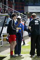 Photo: Marc Atkins.<br /> <br /> Rushden & Diamonds v Wycombe Wanderers. Coca Cola League 2. 22/04/2006. Barry Hunter (L) talk to stand in Wycombe manger Steve Brown.