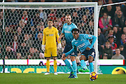 Swansea City  midfielder Leroy Fer (8)  plays the ball forward during the Premier League match between Stoke City and Swansea City at the Britannia Stadium, Stoke-on-Trent, England on 31 October 2016. Photo by Simon Davies.