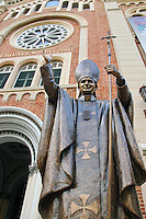 Brass statue of Pope John Paul ll  at Assumption Cathedral, Bangkok Thailand