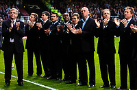 Photo: Daniel Hambury.<br />West Ham United v Liverpool. The Barclays Premiership. 26/04/2006.<br />Sir Trevor Brooking leads a team of old West Ham players in a minutes applause in memory of former West Ham manager John Lyall.