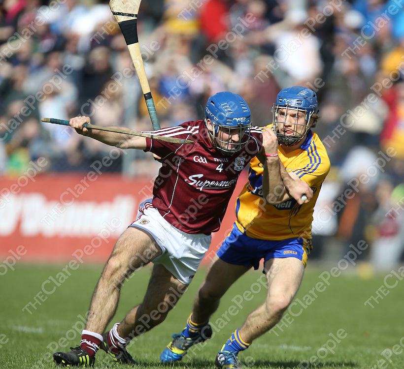 Clare Shane O'Donnell &amp; Galway's John Cohan in action during their NHL Div 1A Game played in Cusack Park Ennis..<br /> Pictured Credit Brian Gavin Press 22