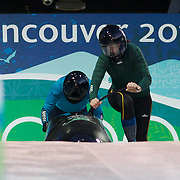 Winter Olympics, Vancouver, 2010.Aoife Hoey (front) and Claire Bergin, Ireland, In action during the Women's Bobsleigh Official Training Heats at Whistler Sliding Centre , Whistler, during the Vancouver Winter Olympics. 22nd February 2010. Photo Tim Clayton