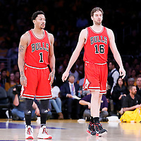 29 January 2015: Chicago Bulls guard Derrick Rose (1), Chicago Bulls forward Pau Gasol (16) and Chicago Bulls guard Jimmy Butler (21) are seen during the Los Angeles Lakers 123-118 2OT victory over the Chicago Bulls, at the Staples Center, Los Angeles, California, USA.