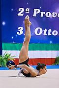 Francesca Paris  atleta della Società Moderna Legnano durante la seconda prova del Campionato Italiano di Ginnastica Ritmica.<br /> La gara si è svolta a Desio il 31 ottobre 2015.